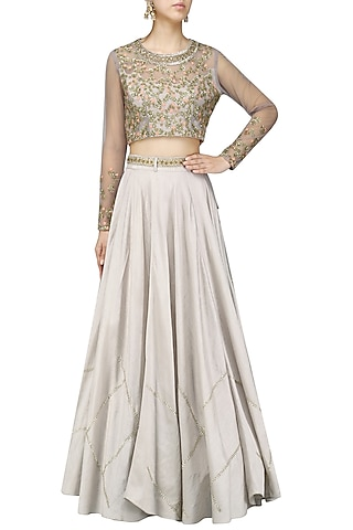 Grey Embroidered Crop Top and Skirt Set by Shikha and Nitika