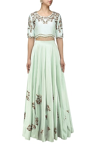 Powder Blue Embroidered Crop Top and Skirt Set by Shikha and Nitika