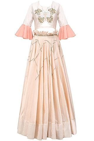 Baby Pink Butterfly Embroidered Crop Top and Skirt Set by Shikha and Nitika