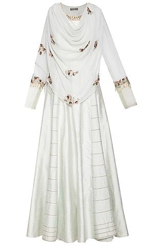 Powder blue embroidered drape anarkali gown by Shikha and Nitika