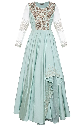 Sea green embroidered gown by Shikha and Nitika
