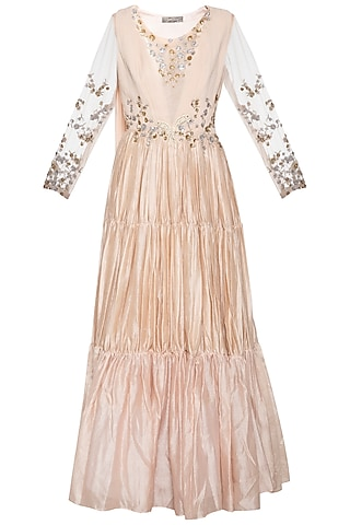 Coffee cream embroidered anarkali gown by Shikha and Nitika