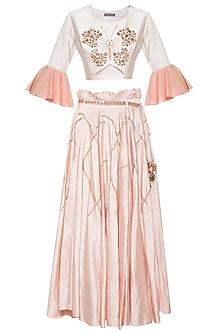 Baby pink embroidered crop top with skirt by Shikha and Nitika