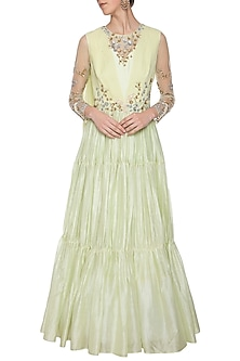 Mint green embroidered layered anarkali gown by Shikha and Nitika