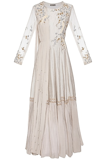 Light grey embroidered anarkali gown by Shikha and Nitika