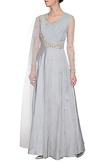 Steel grey embroidered drape anarkali gown by Shikha and Nitika