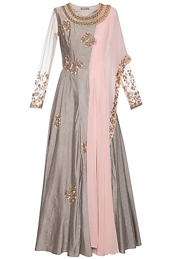 Dark grey and pink embroidered anarkali gown by Shikha and Nitika