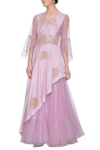 Lavender embroidered anarkali gown by Shikha and Nitika