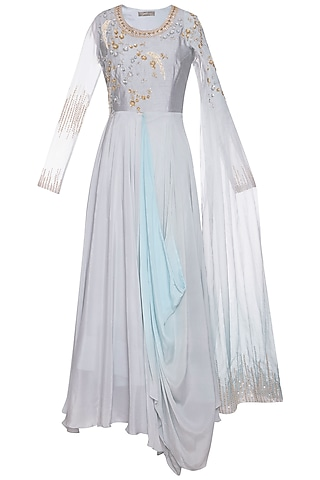 Steel grey and blue embroidered drape anarkali gown by Shikha and Nitika