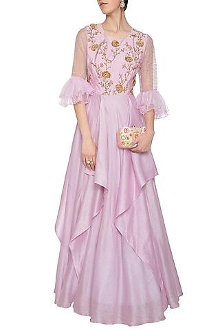 Lavender embroidered drape anarkali gown by Shikha and Nitika