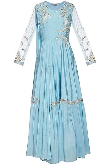 Sky blue embroidered drape anarkali gown by Shikha and Nitika