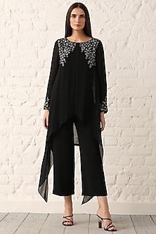 Black Embroidered Textured Tunic by Namrata Joshipura