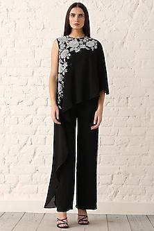 Black Embroidered Layered Jumpsuit by Namrata Joshipura