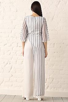 Blue Striped Chiffon Jumpsuit by Namrata Joshipura