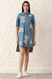 Blue Embroidered Shirt Dress by Namrata Joshipura