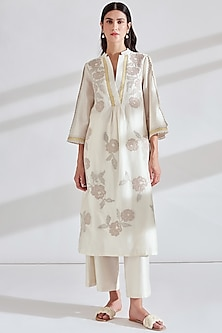 Ivory Embellished Kurta With Pants by Namrata Joshipura