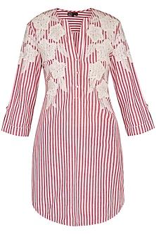 Pink Hand Embroidered & Striped Tunic by Namrata Joshipura