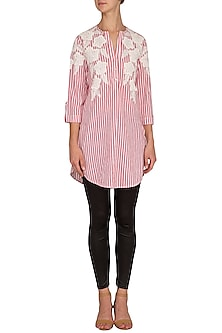 Pink Hand Embroidered & Striped Tunic by Namrata Joshipura