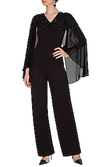 Black Embroidered Cape Jumpsuit by Namrata Joshipura