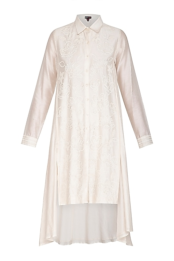 Ivory Hand Embroidered Tunic by Namrata Joshipura