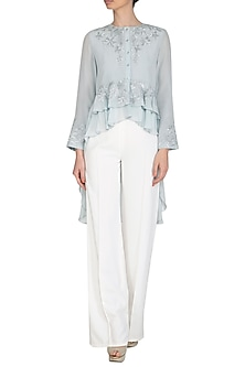 Slate Embroidered Layered Top by Namrata Joshipura