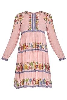 Pink Embroidered Printed Boho Dress by Namrata Joshipura