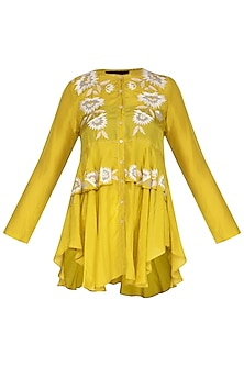 Chartreuse Yellow Embroidered Top by Namrata Joshipura