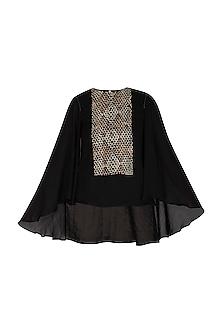 Black Embroidered Batwing Top by Namrata Joshipura