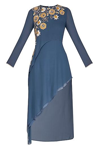 Denim Blue Embroidered Tunic by Namrata Joshipura