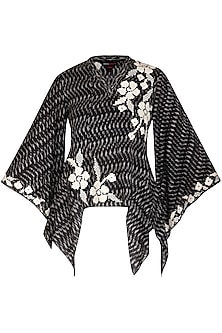 Black Embroidered Printed Top by Namrata Joshipura