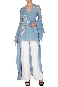 Sky Blue Embroidered Top by Namrata Joshipura
