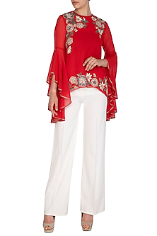 Red Embroidered Top by Namrata Joshipura