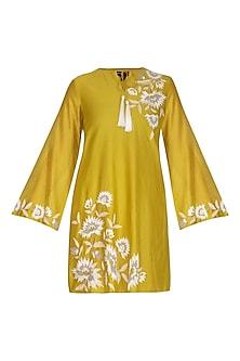 Chartreuse Yellow Embroidered Tunic by Namrata Joshipura