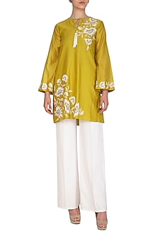 Chartreuse Yellow Embroidered Tunic by Namrata Joshipura