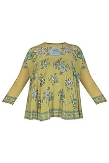 Green Embroidered Swing Top by Namrata Joshipura