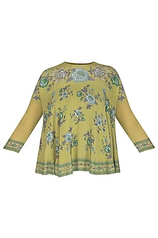 Green Embroidered Swing Top by Namrata Joshipura