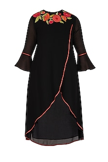 Black Embroidered Overlap Tunic by Namrata Joshipura