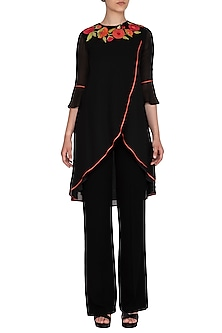 Black Embroidered Overlap Tunic by Namrata Joshipura