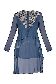 Denim Blue Embroidered Top by Namrata Joshipura
