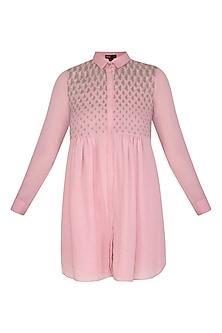 Dusty Pink Embroidered Tunic by Namrata Joshipura