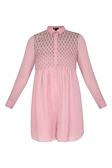 Dusty Pink Embroidered Tunic by Namrata Joshipura