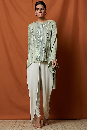 Sage Green Hand Embellished Top With Slip by Namrata Joshipura