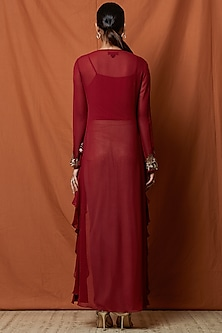 Berry Red Embellished Layered Top With Slip by Namrata Joshipura