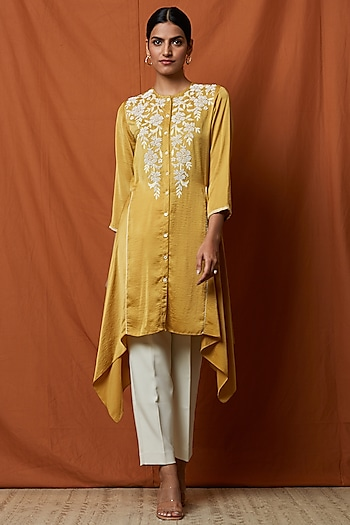 Mustard Yellow Embellished Tunic by Namrata Joshipura