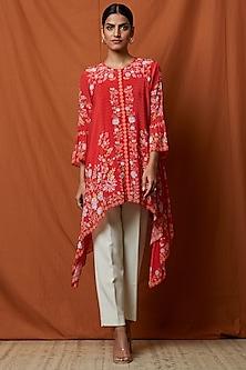 Crimson Red Printed & Embellished Tunic by Namrata Joshipura