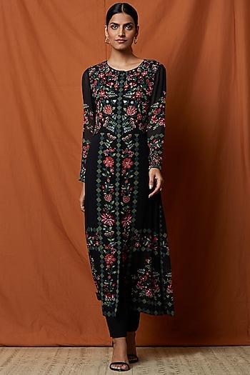 Black Printed & Embellished Jacket With Slip by Namrata Joshipura