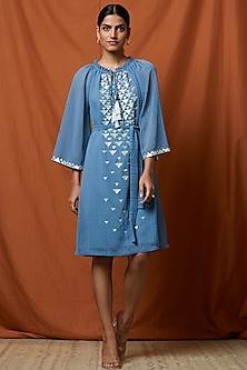 Marlin Blue Hand Embellished Dress by Namrata Joshipura