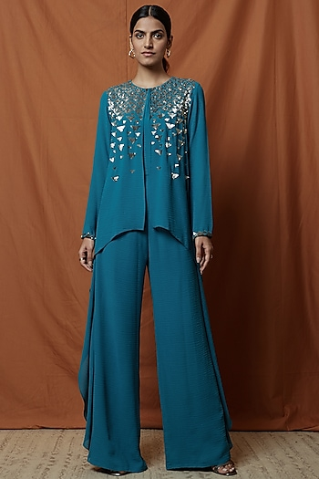 Teal Blue Embellished Cape Jumpsuit by Namrata Joshipura
