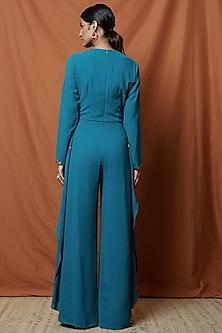 Teal Blue Embellished Cape Jumpsuit by Namrata Joshipura