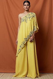 Bumblebee Yellow Embellished Jumpsuit by Namrata Joshipura